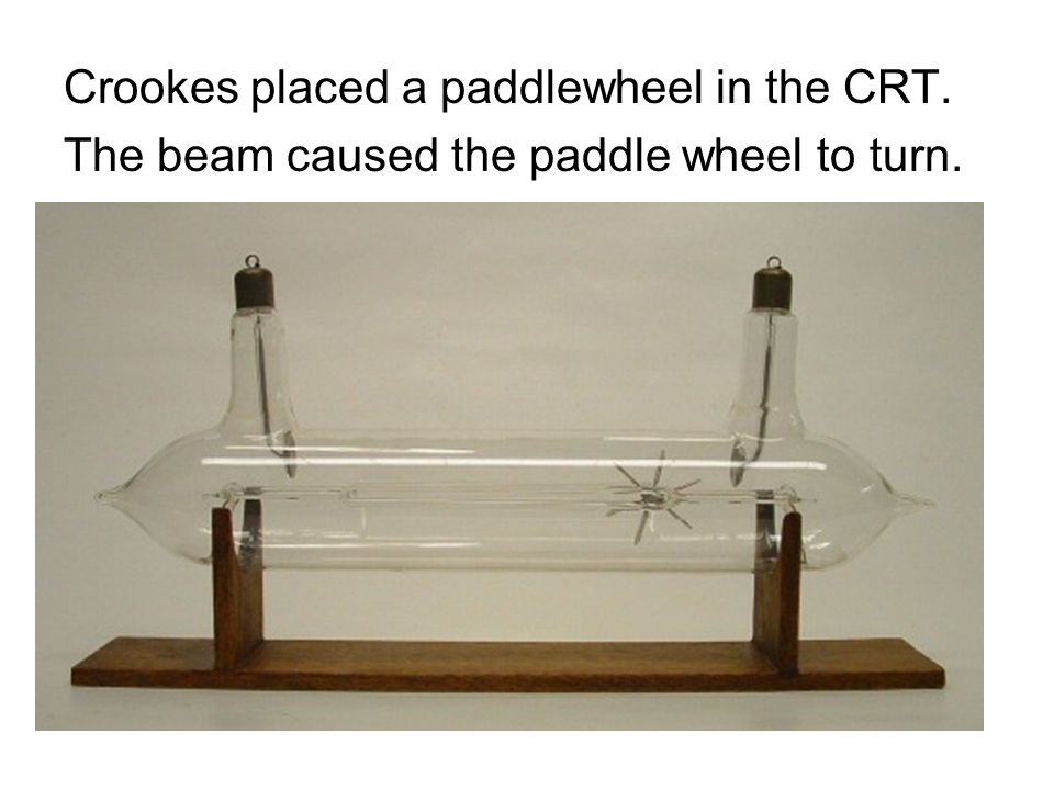 Crookes placed a paddlewheel in the CRT.