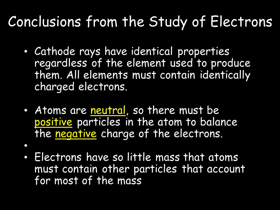 Conclusions from the Study of Electrons