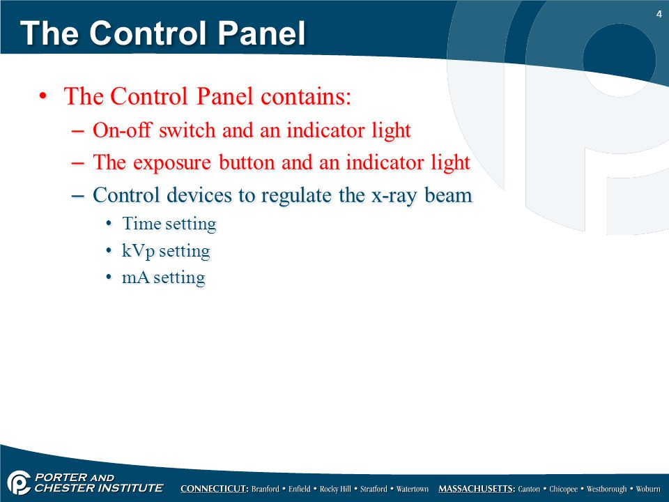 The Control Panel The Control Panel contains: