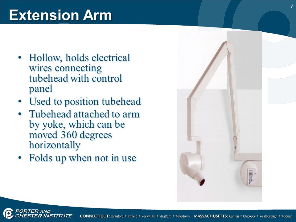 Extension Arm Hollow, holds electrical wires connecting tubehead with control panel. Used to position tubehead.