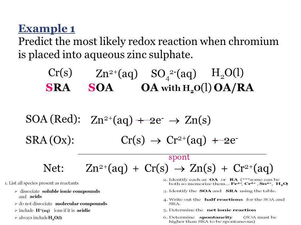 Zn2+(aq) + Cr(s)  Zn(s) + Cr2+(aq)