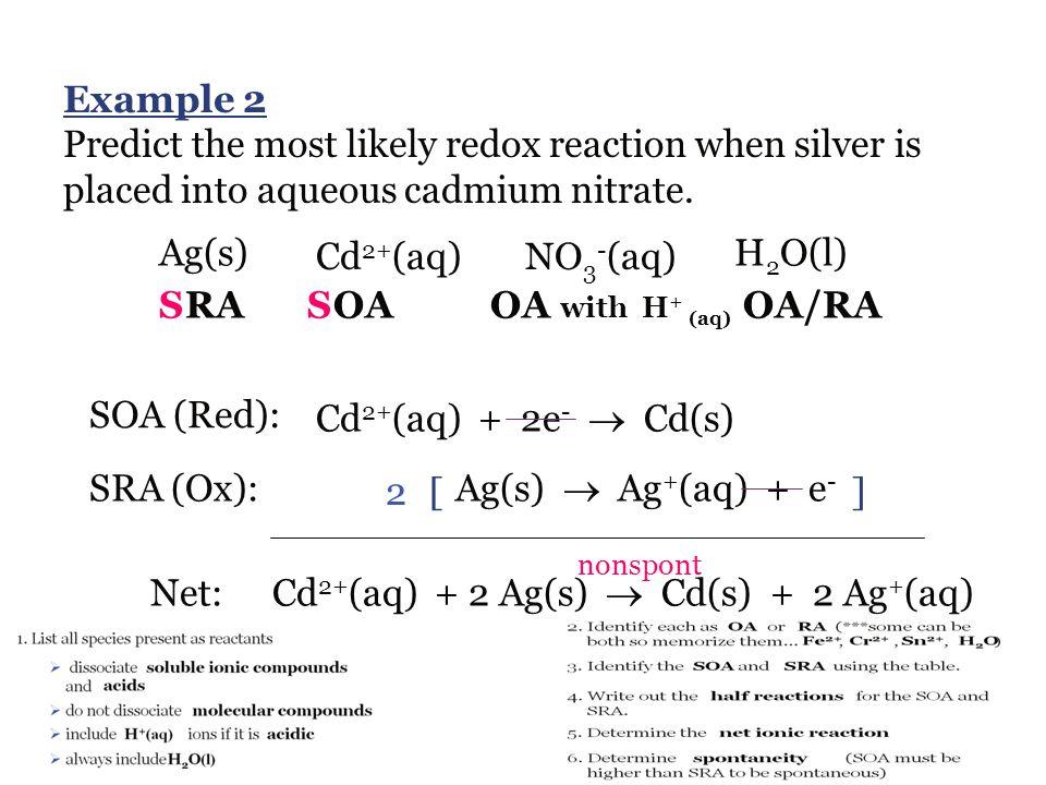 Cd2+(aq) + 2 Ag(s)  Cd(s) + 2 Ag+(aq)
