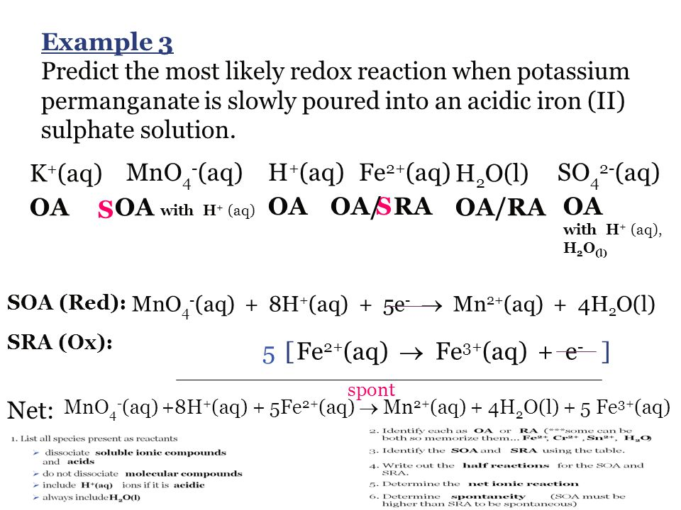 Example 3 Predict the most likely redox reaction when potassium permanganate is slowly poured into an acidic iron (II) sulphate solution.