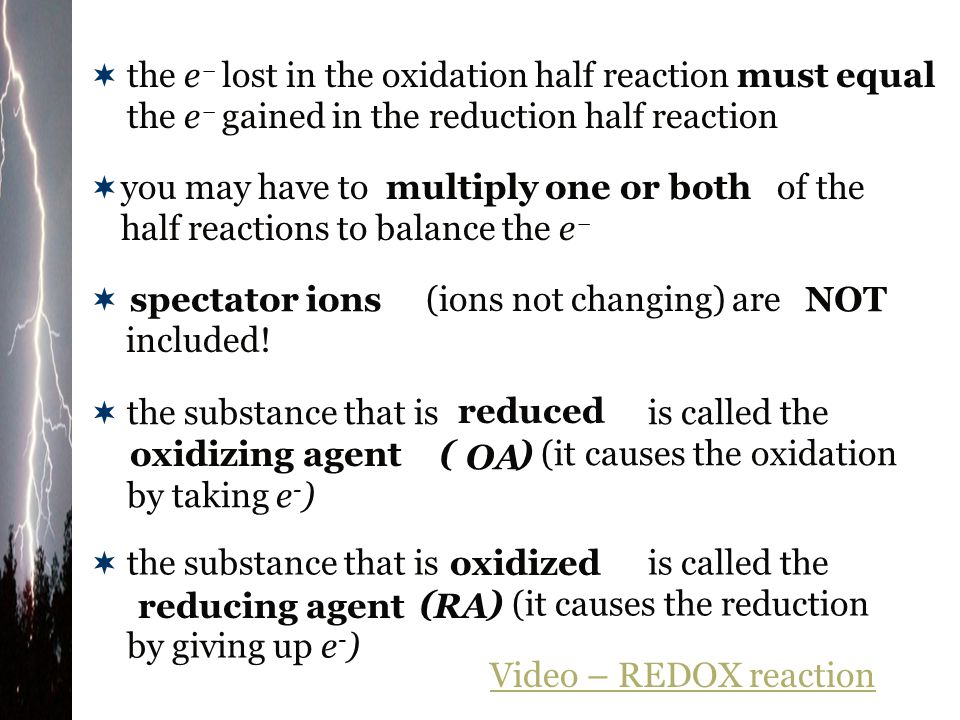 the e lost in the oxidation half reaction the e gained in the reduction half reaction