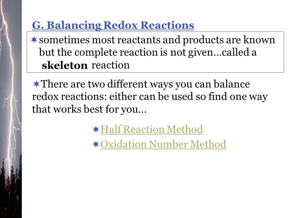 G. Balancing Redox Reactions