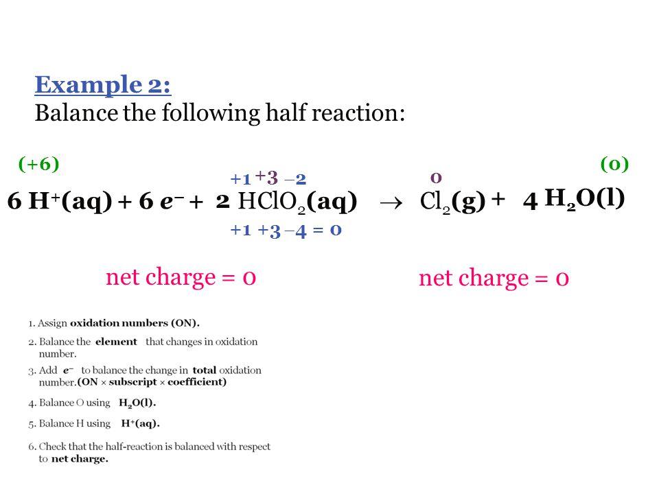 Balance the following half reaction: