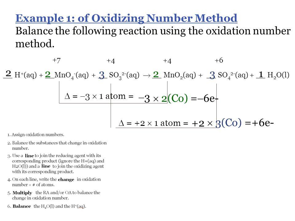 Example 1: of Oxidizing Number Method