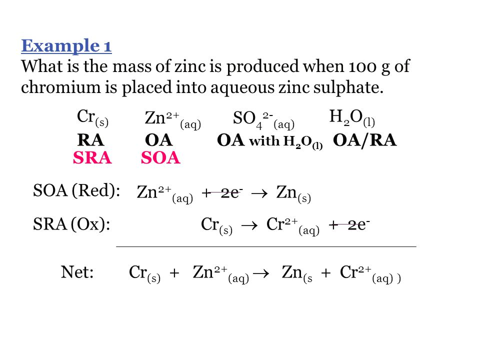 Example 1 What is the mass of zinc is produced when 100 g of chromium is placed into aqueous zinc sulphate.