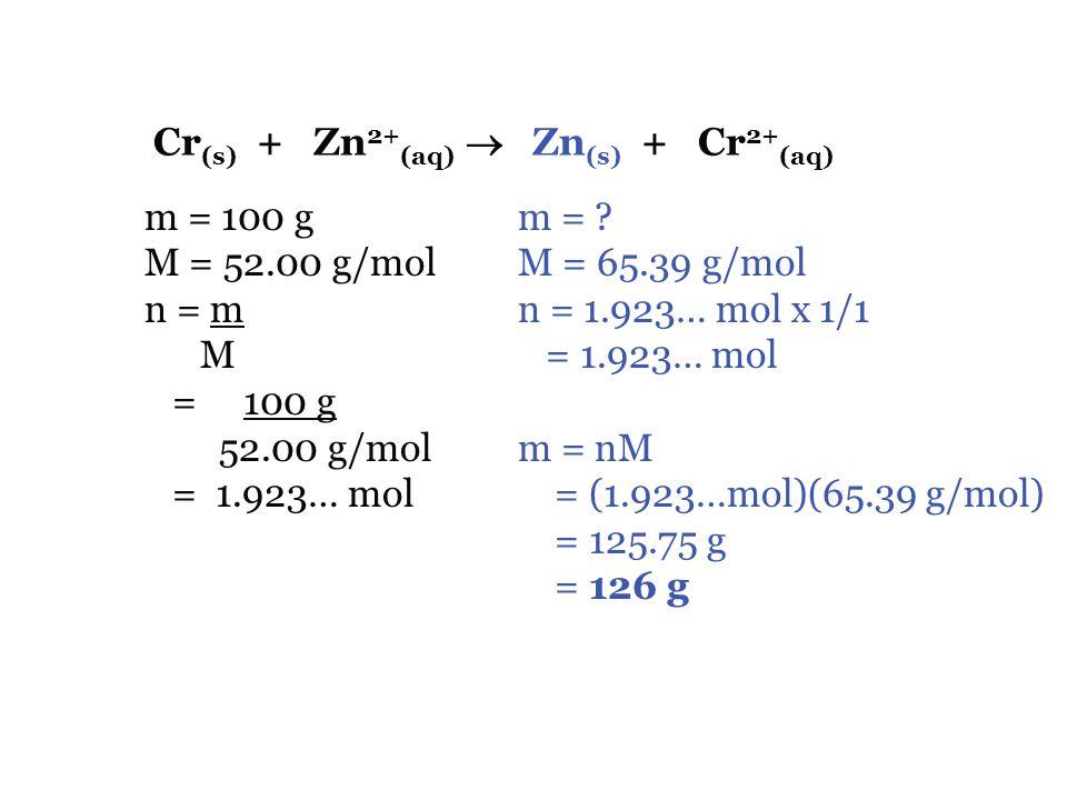 Cr(s) + Zn2+(aq)  Zn(s) + Cr2+(aq)