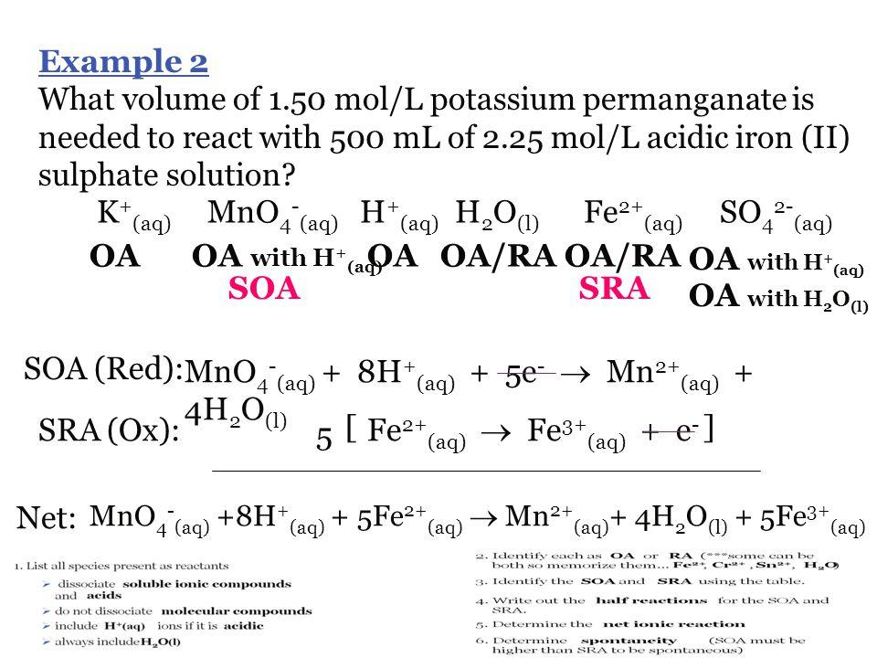 K+(aq) MnO4-(aq) H+(aq) H2O(l) Fe2+(aq) SO42-(aq) OA OA with H+(aq) OA