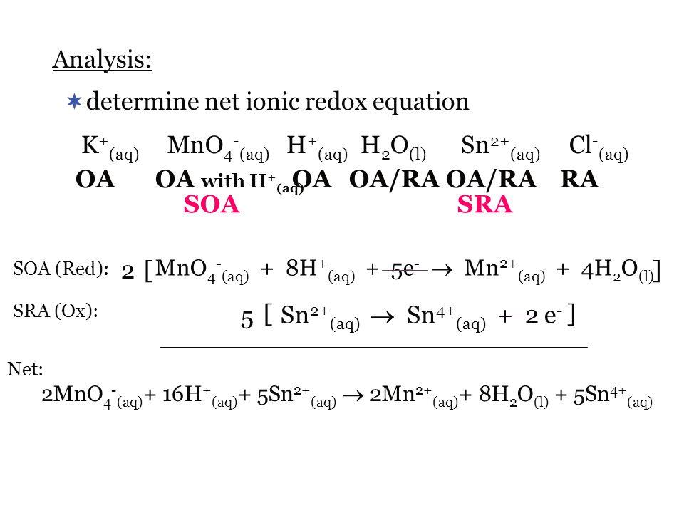 determine net ionic redox equation