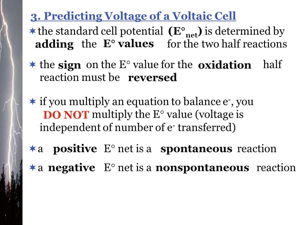 3. Predicting Voltage of a Voltaic Cell