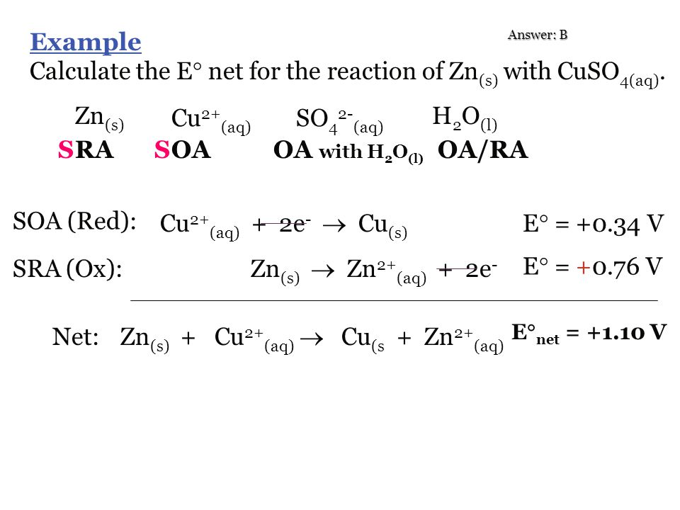 Calculate the E net for the reaction of Zn(s) with CuSO4(aq).
