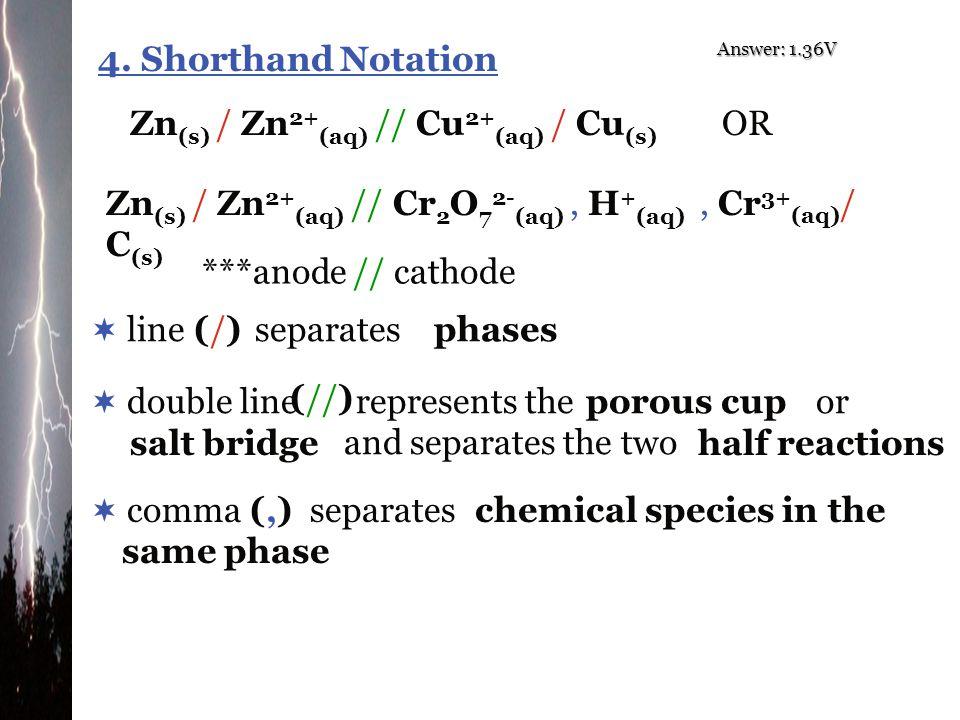 Zn(s) / Zn2+(aq) // Cu2+(aq) / Cu(s) OR