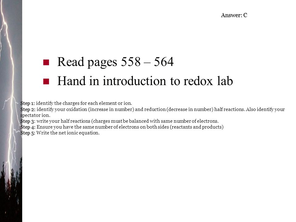 Hand in introduction to redox lab