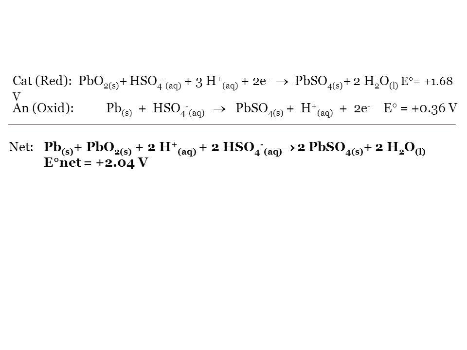 Cat (Red): PbO2(s)+ HSO4-(aq) + 3 H+(aq) + 2e-  PbSO4(s)+ 2 H2O(l) E= +1.68 V