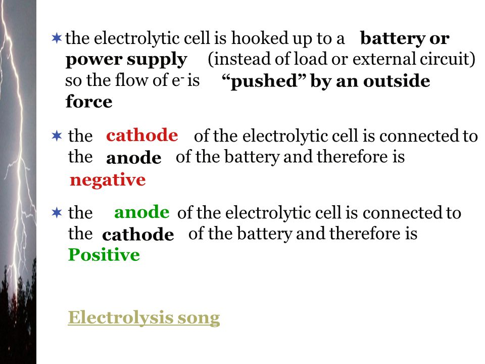 the electrolytic cell is hooked up to a