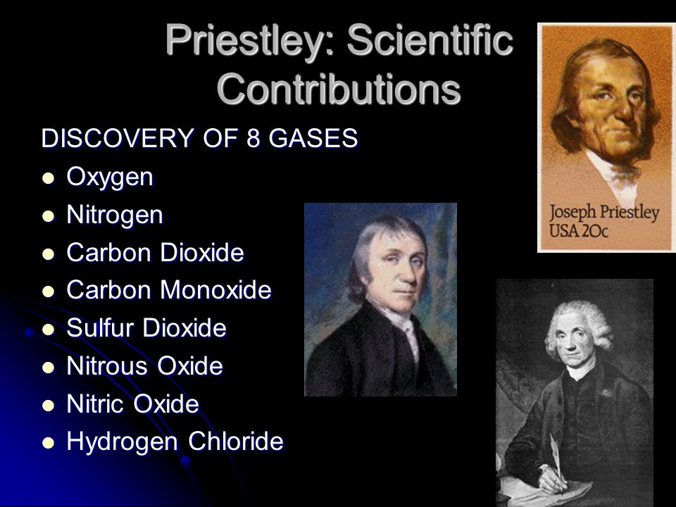 Priestley: Scientific Contributions