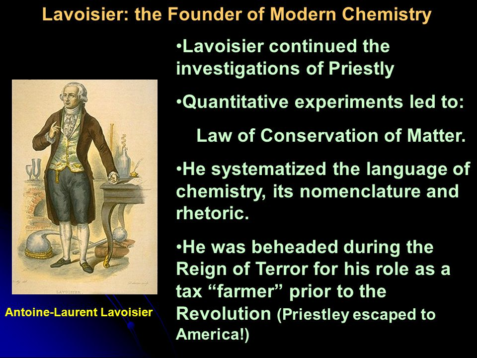 Lavoisier: the Founder of Modern Chemistry