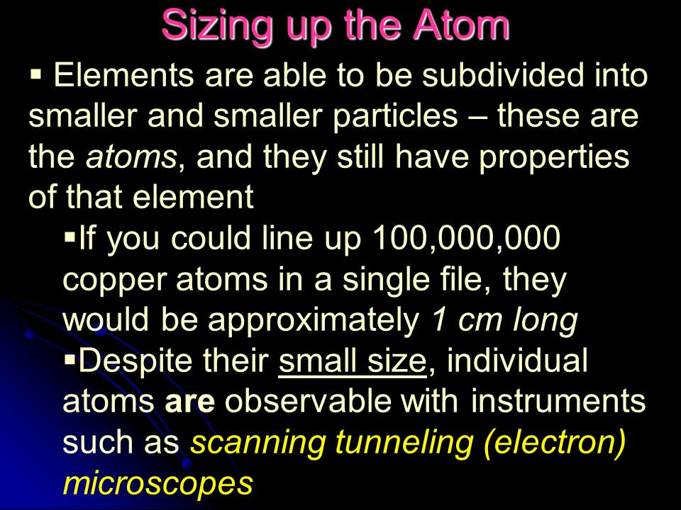 Sizing up the Atom