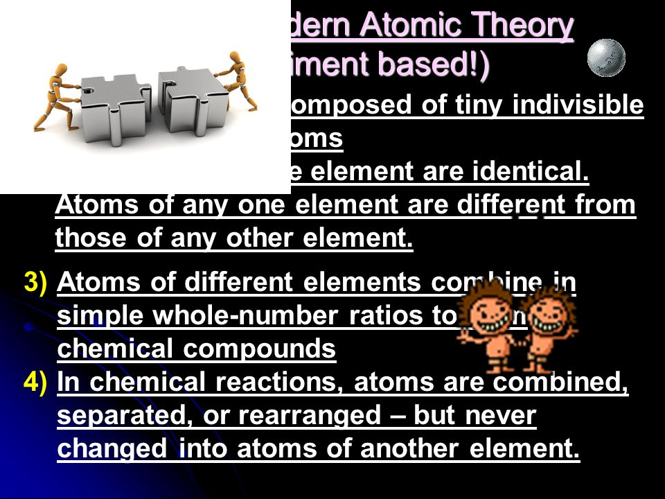Dalton's Modern Atomic Theory (experiment based!)