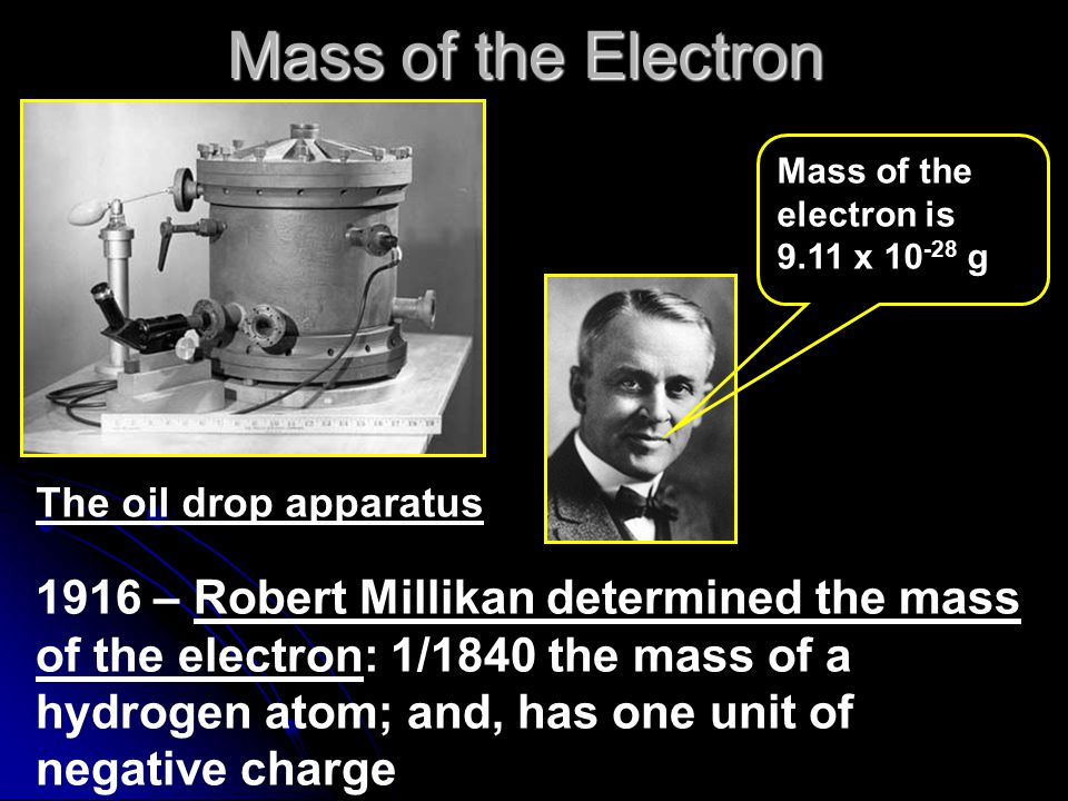 Mass of the Electron Mass of the electron is. 9.11 x 10-28 g. The oil drop apparatus.