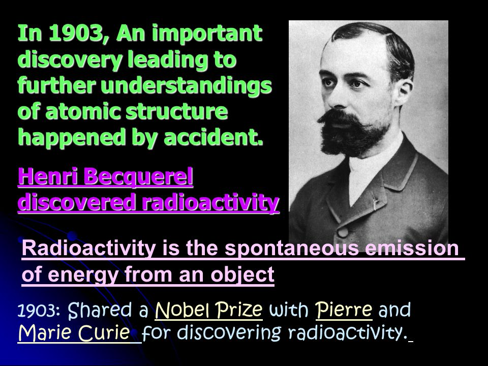 Henri Becquerel discovered radioactivity
