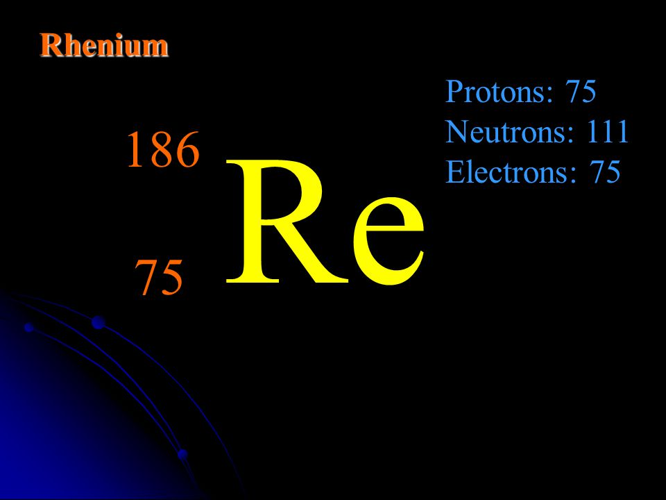 Rhenium Protons: 75 Neutrons: 111 Electrons: 75 Re 186 75