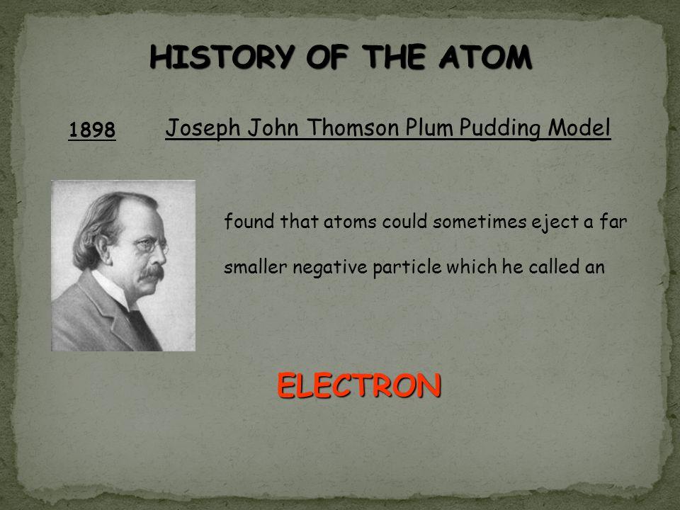 HISTORY OF THE ATOM ELECTRON Joseph John Thomson Plum Pudding Model
