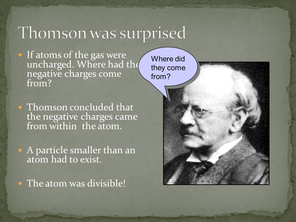 Thomson was surprised If atoms of the gas were uncharged. Where had the negative charges come from