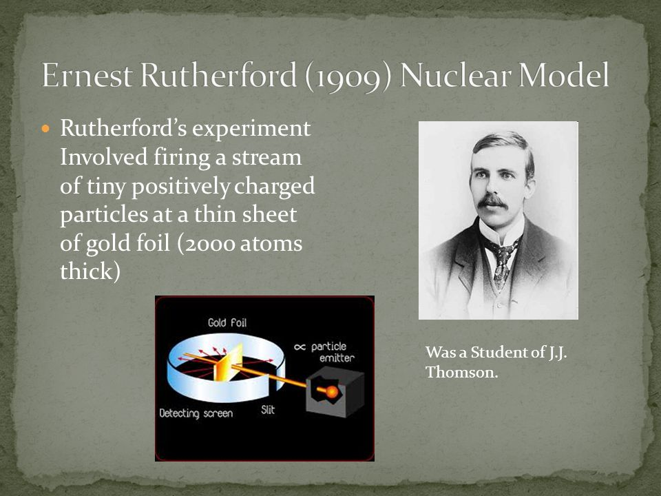 Ernest Rutherford (1909) Nuclear Model