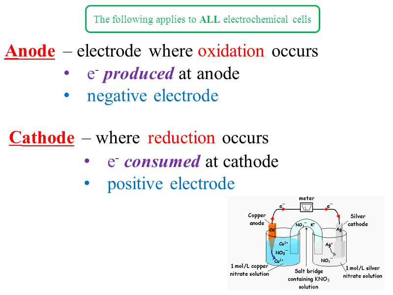 The following applies to ALL electrochemical cells