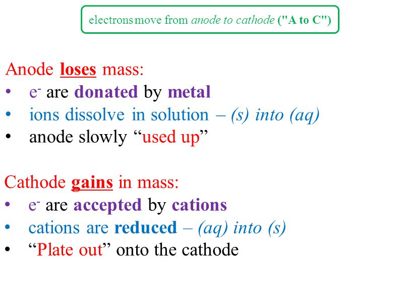 electrons move from anode to cathode ( A to C )