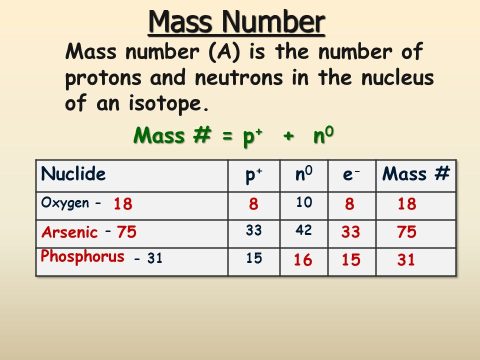 Mass Number Mass number (A) is the number of protons and neutrons in the nucleus of an isotope. Mass # = p+ + n0.