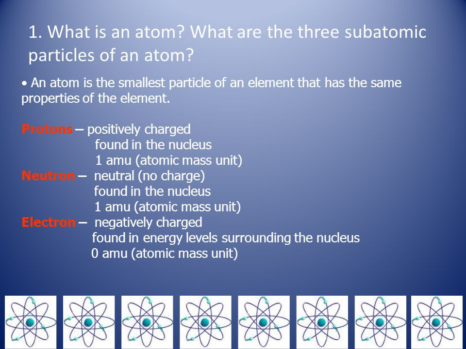 1. What is an atom What are the three subatomic particles of an atom