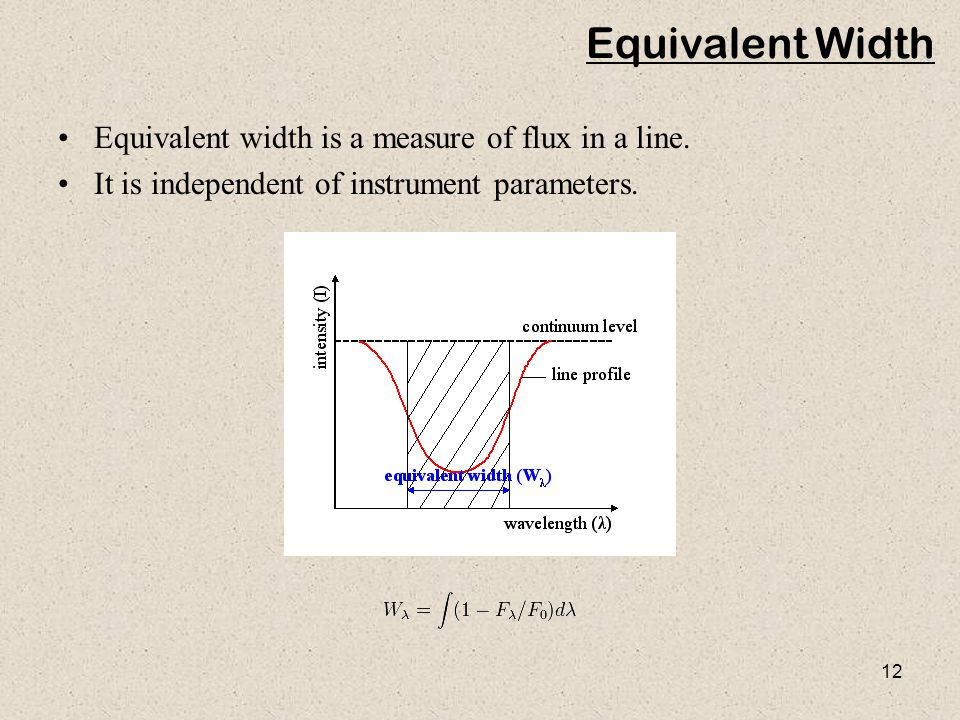 Equivalent Width Equivalent width is a measure of flux in a line.