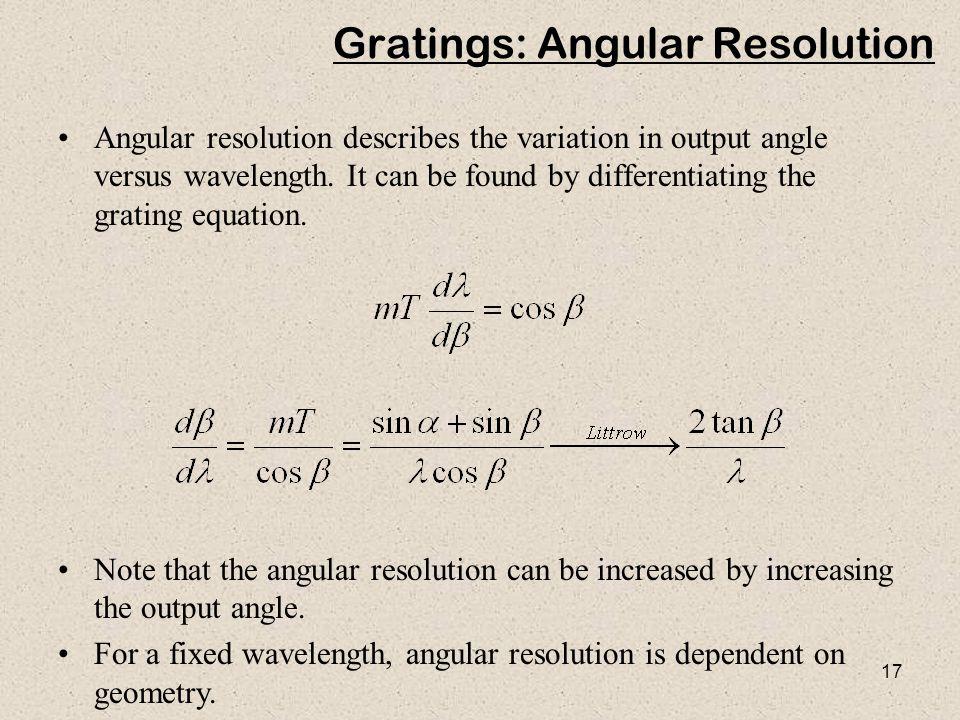 Gratings: Angular Resolution