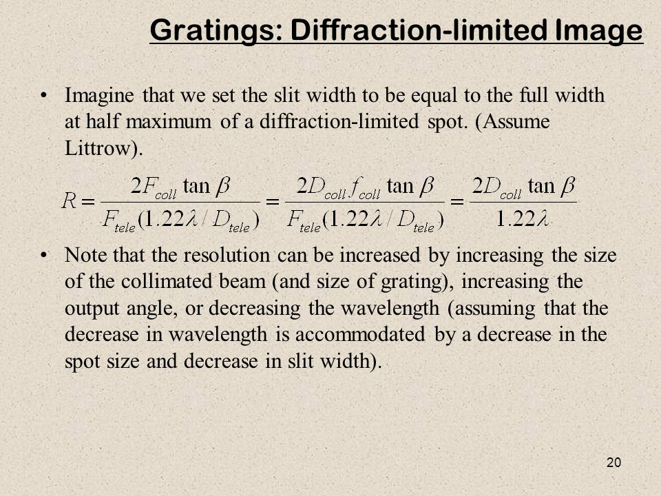 Gratings: Diffraction-limited Image