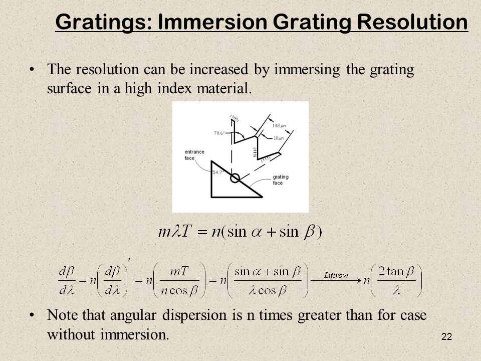 Gratings: Immersion Grating Resolution