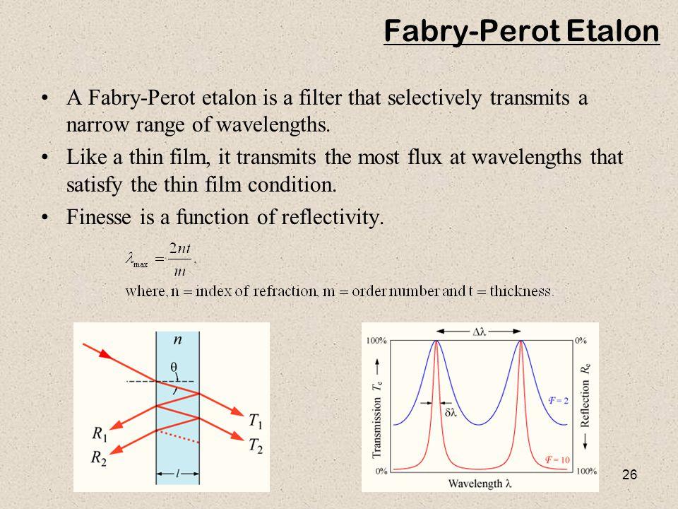 Fabry-Perot Etalon A Fabry-Perot etalon is a filter that selectively transmits a narrow range of wavelengths.