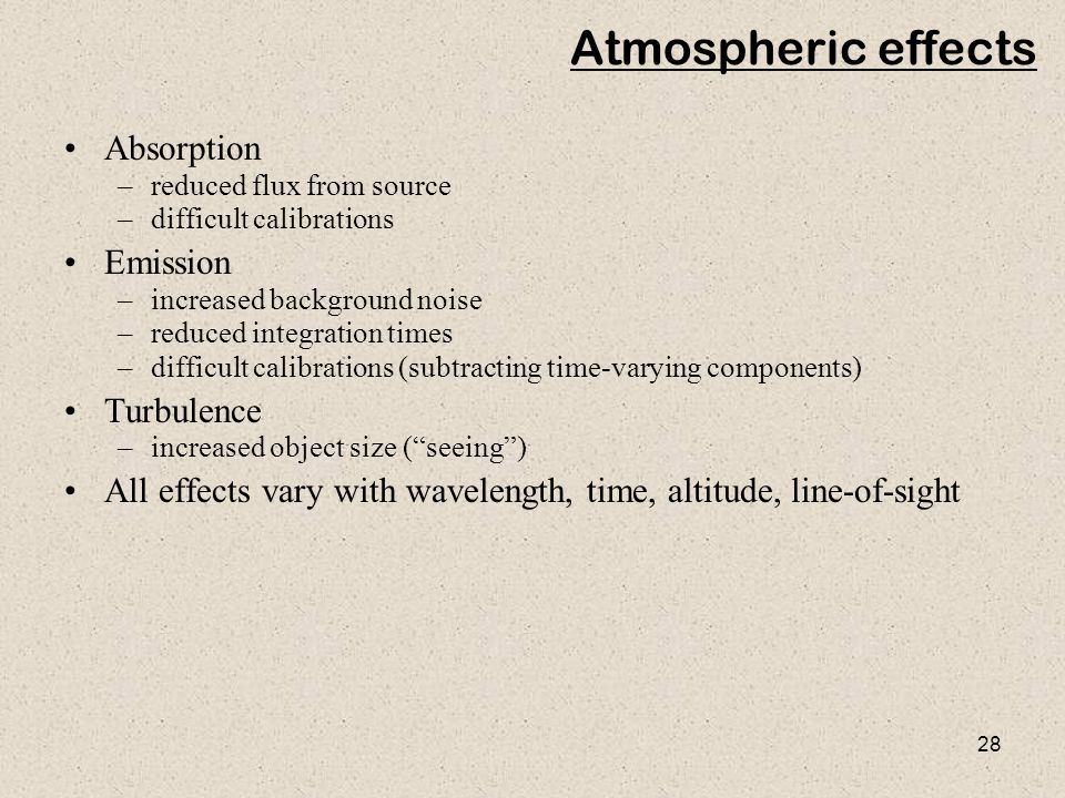 Atmospheric effects Absorption Emission Turbulence