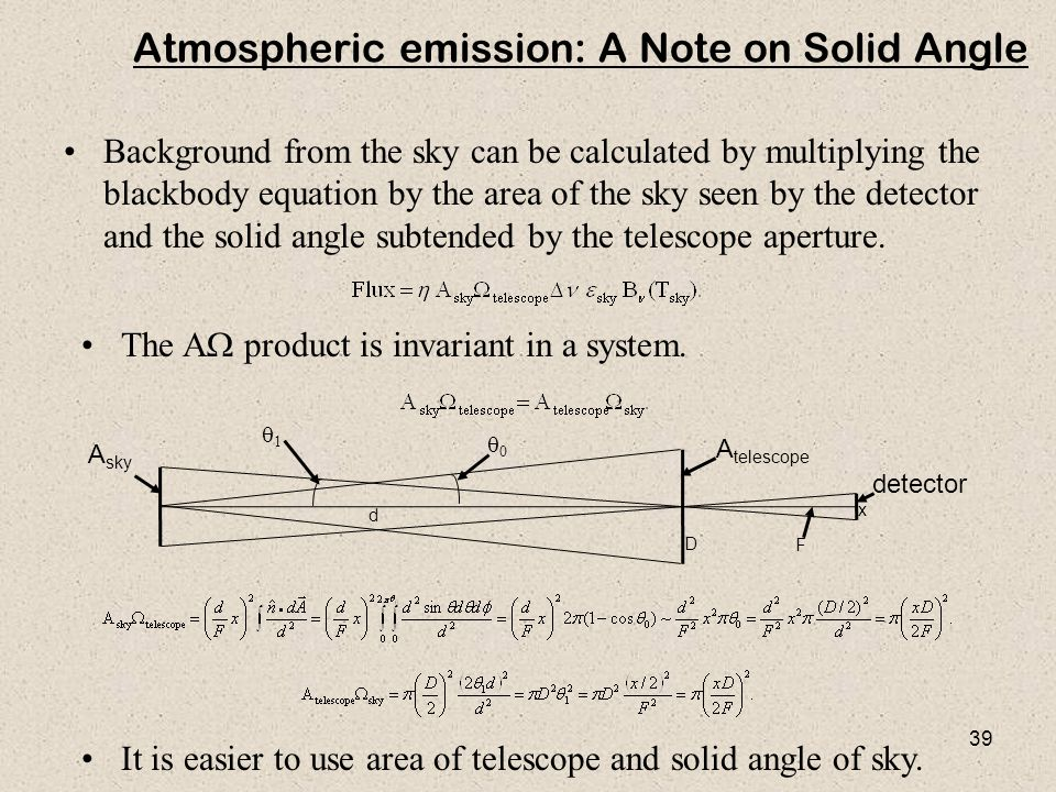 Atmospheric emission: A Note on Solid Angle