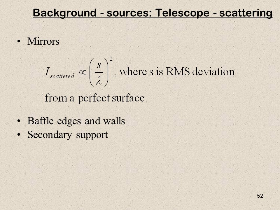 Background - sources: Telescope - scattering