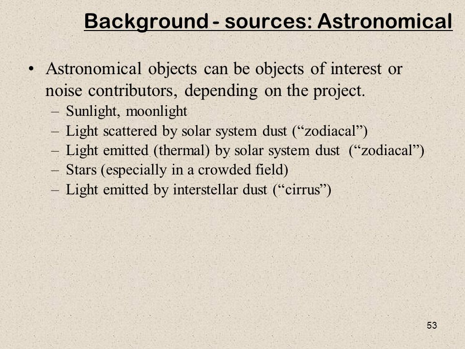 Background - sources: Astronomical