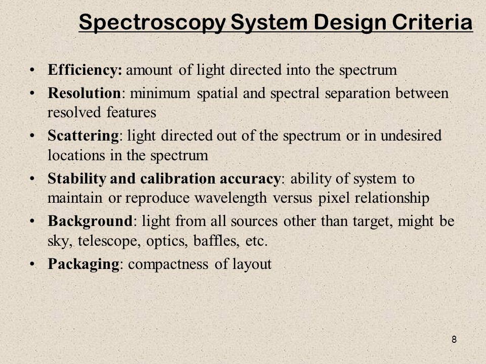 Spectroscopy System Design Criteria