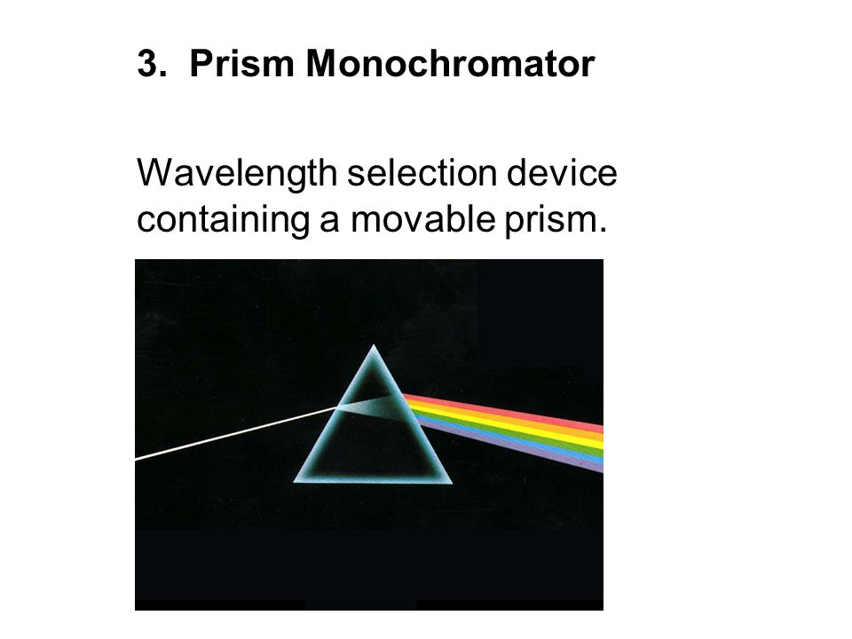 3. Prism Monochromator Wavelength selection device containing a movable prism.