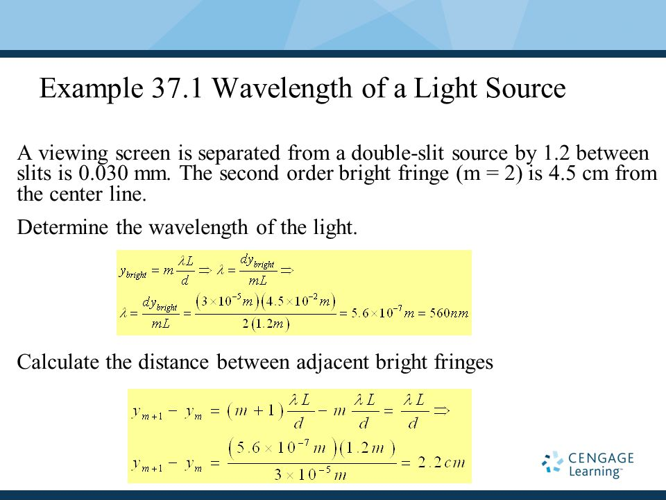 Example 37.1 Wavelength of a Light Source