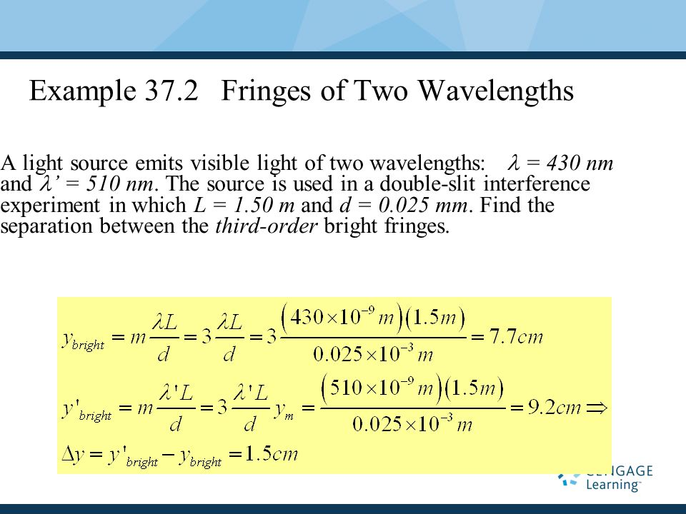 Example 37.2 Fringes of Two Wavelengths