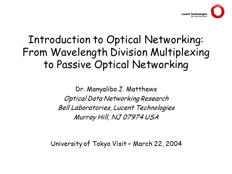 Introduction to Optical Networking: From Wavelength Division Multiplexing to Passive Optical Networking