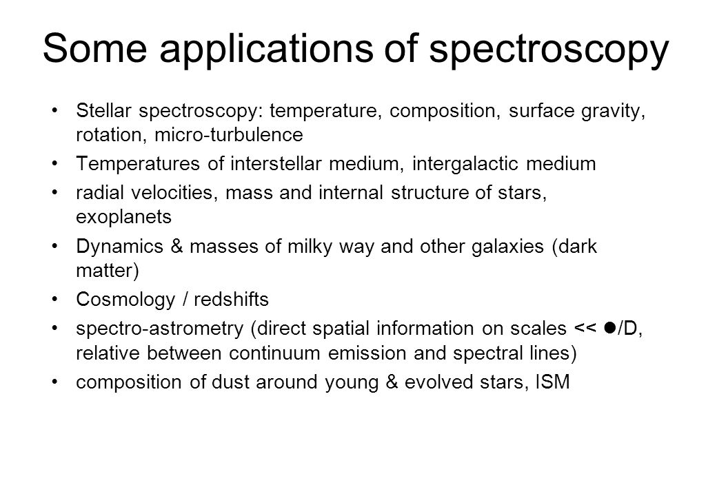 Some applications of spectroscopy